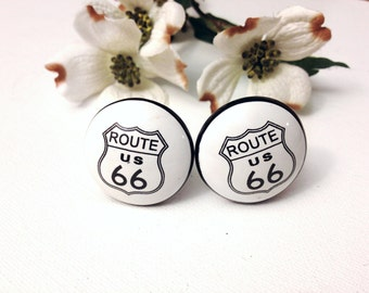 Antique Style White Ceramic Route 66 Knob / Drawer Pull / Hardware / Man Cave / Cabinet Hardware / Mans Gift / Ceramic