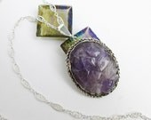 "Large 1920s Chinese Export Hand Carved Amethyst Necklace, Silver Filigree, Lotus Flower Design,18"" Chain, Hallmarked."