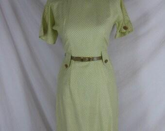 1950s 1960s Dream Dress Greenish Yellow Vintage Cotton Polka Dot Party Dress W 25