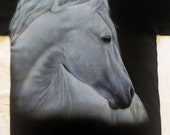 White Horse tshirt size adult Medium custom airbrushed design painted White Horse on black colored heavy weight cotton