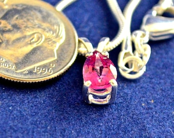 Pink Topaz Pendant/Necklace, 7x5mm Pear, Natural, Set in Sterling Silver   P470