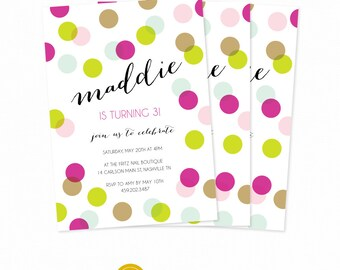 First Birthday invitation Polka Dot Invite Bridal Shower Party Invite Custom Baby Shower Printable diy Invitation Birthday Polka Dot Party