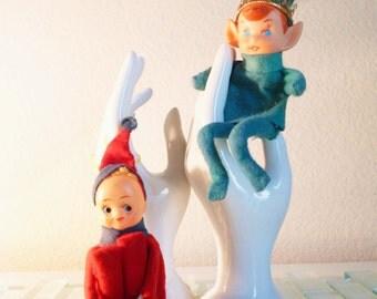Christmas Elf Japan Ornament Bent Knee Hugger Elf - 2 included