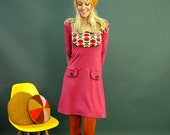 "Retro dress ""GRETA"" in Raspberry"