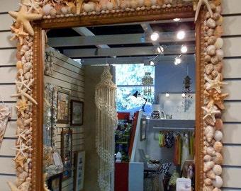 Large Mirror Starfish Seashell Coastal Hall Wall Bathroom Art Unique Mirror