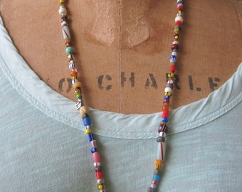 African trade bead necklace with mask