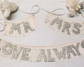 Mr. and Mrs. etc + Love Always Glittering Fringe Banners | mr. and mr. | mrs. and mrs. | chair back sign, custom wedding decor, boho wedding