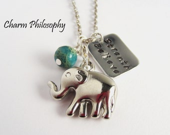 Elephant Inspirational Quote Necklace - Custom Handstamped Word, Name or Quote Necklace - Silver Elephant Charm Jewelry