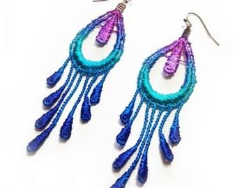 SALE- BOHEMIAN RHAPSODY Lace Earrings in Peacock