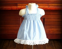 Custom Blue & White Gingham Smocked Sundress by Steady As She Goes baby girls 0 3 6 12 18 24 mo 2T eyelet lace Dorothy Wizard of Oz costume