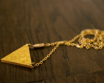 Necklace with triangle - gold/silver or gold/green to turn