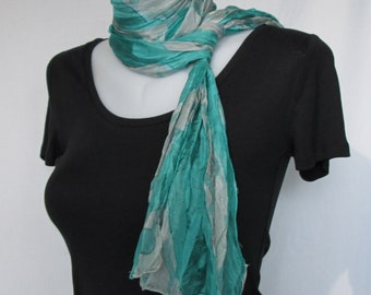 Silk scarf long crinkle hand painted - viridian green and grey