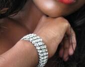 Vintage Rhinestone Bracelet, 1950's Jewelry, Wedding Jewelry, Bridal Jewelry