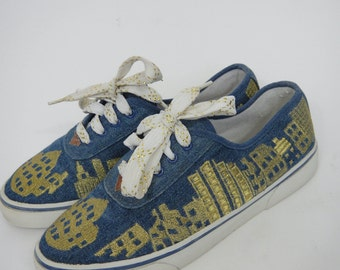 Vintage 80s Denim and Metallic Gold New York Skyline Design Plimsolls --  Size 7.5