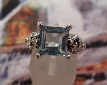 Unique Sterling Silver Blue Topaz Mermaid Ring  Size 6