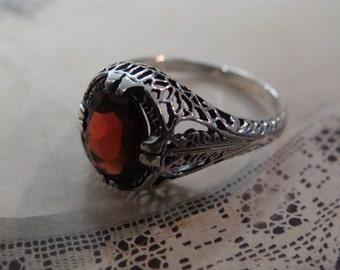 Lovely Sterling Filigree Garnet Ring Size 7.75