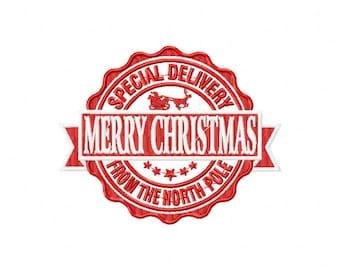 North Pole Postage - Dec. 25 - Merr y Christmas Label Stickers / Seals ...