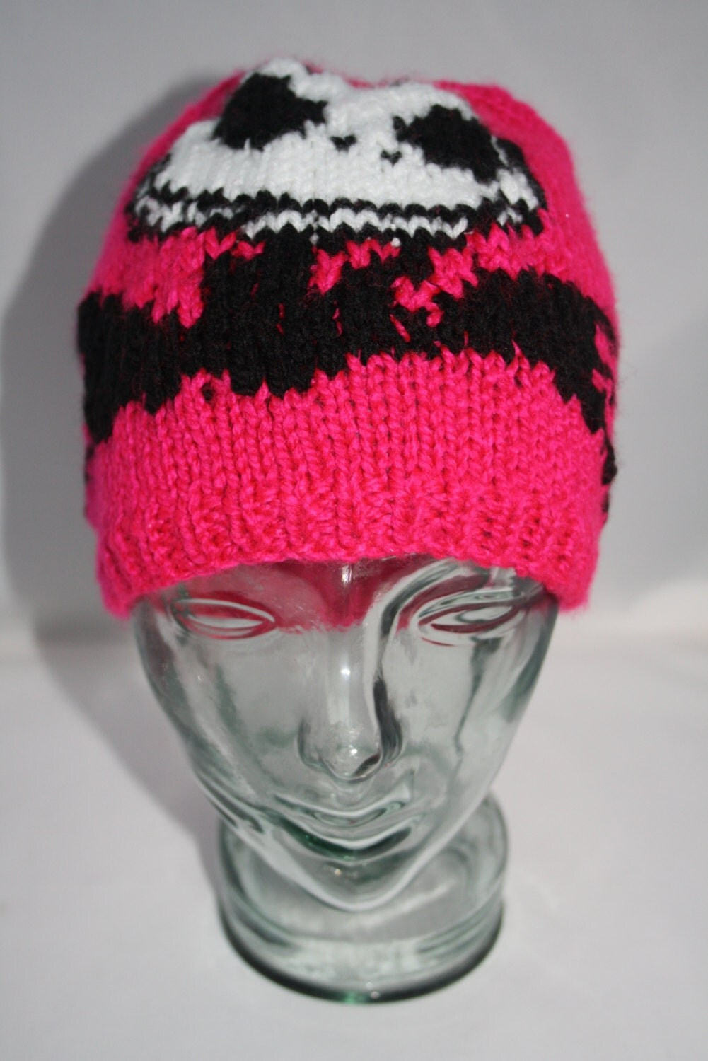Hand Knitted Neon Pink Nightmare Before Christmas Beanie
