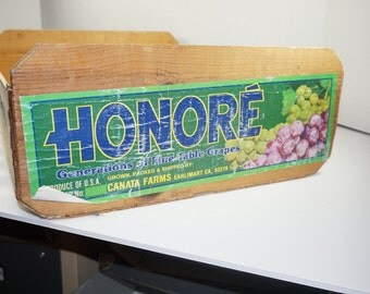 HONORE Grape Crate, Wooden Crate, CA Grape Box, Vintage Grape Box, Free Shipping