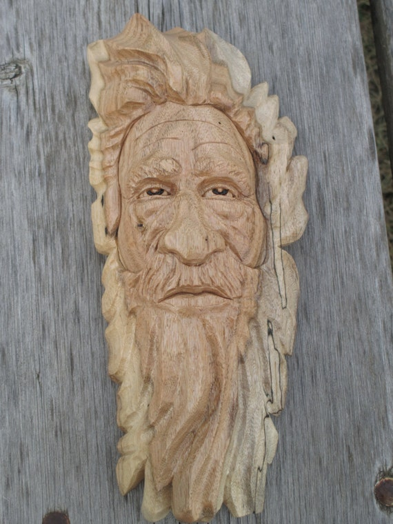 Wood spirit butternut rustic log cabin decor by