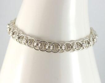 Celtic Infinity Link Argentium Sterling Silver Bracelet, Circle Link Ladies Bracelet, Custom Made Bracelet