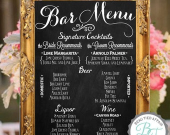 Wedding Bar Menu Chalkboard Sign • Personalized Wedding Menu • Bar Sign