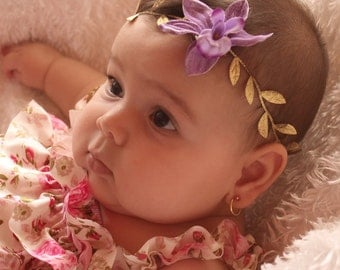 Baby Gold Headband, Purple Flower Headband, Grecian Leaves,  Purple Headband, Gold Headband Greek Headband Toddler Headband Newborn Headband