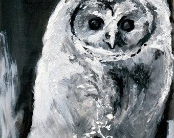 Baby Owl Art Print, Owl Painting, Acrylic Painting, Animal Art, thepaintedgrove 8 x 10 inches