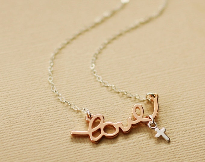 Rose Gold Love and Faith Necklace - Sterling Silver Cross and Chain