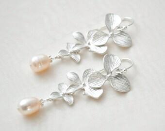 Orchid Bridal Earrings, Freshwater Pearl Wedding Earrings, Floral Bridal Earrings, Silver Orchid Earrings
