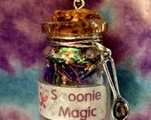 Spoonie Magic Bottle Necklace - Fibromyalgia, Chronic Illness Awareness, Purple, Bottle Jewelry, Blacklight/UV Reactive, Healing Stones