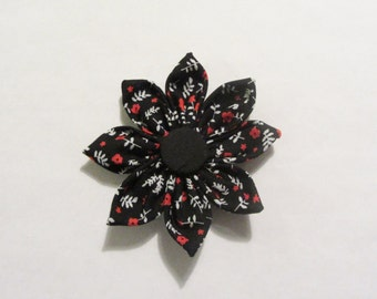 Black and Red Fabric Flower Hair Clip Hair Pin