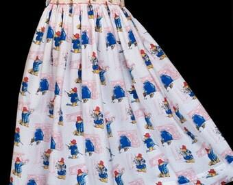 Hand-smocked cotton dress, age 4 to 5, Paddington Bear print