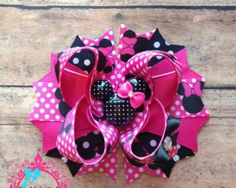 Minnie Mouse Inspired Bow-Hot Pink Minnie Bow-Minnie 1st Birthday Bow-Minnie Bow-Minnie Birthday Bow-Disney Vacation- Disney Princess  Bow