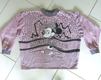 MINNIE MOUSE Disney pale pink 80s acid psychedelic print glitter OS vintage sweater