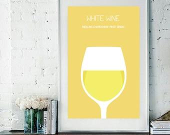 "White Wine Art Print / Poster - 11"" x 17"""