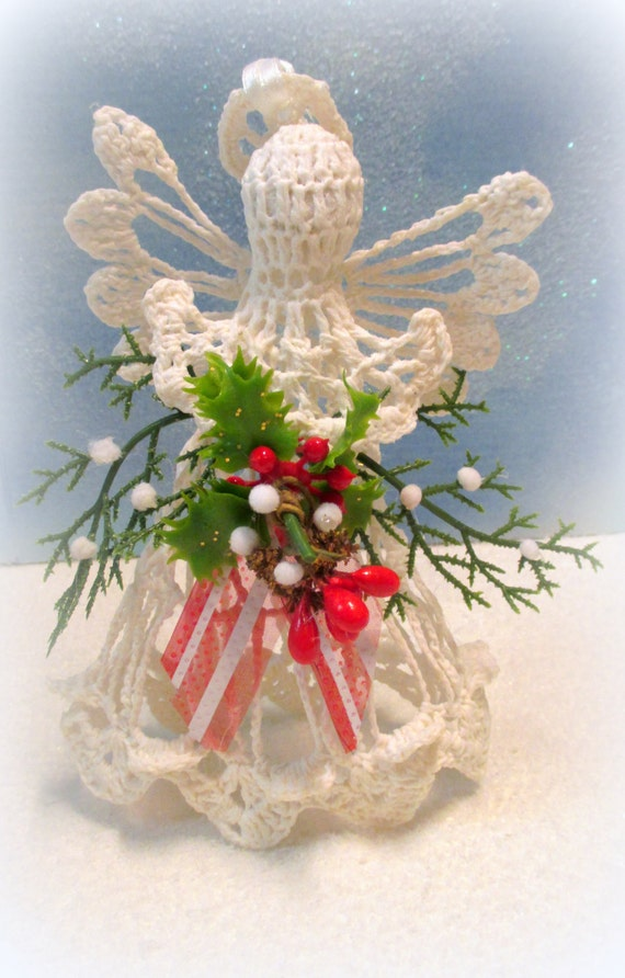 ON SALE Decorated Crocheted Cotton Christmas Angel - Holly and Evergreen with Red and White Striped Ribbon