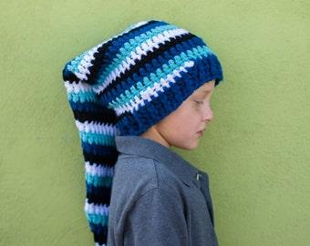 Crochet Pattern Long Spiral Stripped Hat Pattern. Instant Digital download CP213LSH
