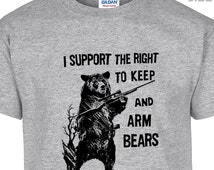 YOUTH / KIDS I Support The Right To Arm Bears T Shirt Funny Kids Hunting Shirt Kids Fishing Shirt