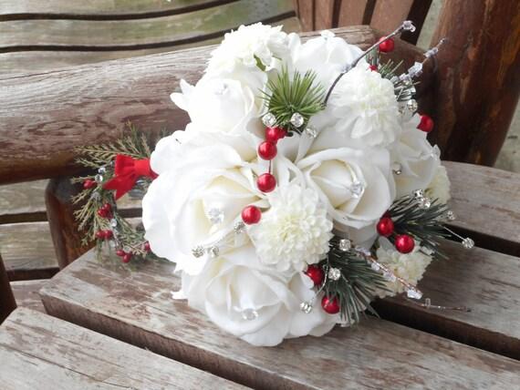 -Brautstrauss und Grooms dienstlich / White Roses Real Touch / Winter ...