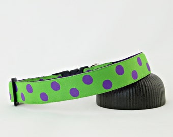 "Purple Polka Dots With Lime Green Spring Summer Dog Collar, 1"" Wide"