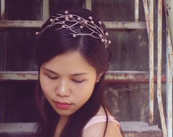 pink silver branch headband,cherry blossom headband, made by polymner clay sweet girl