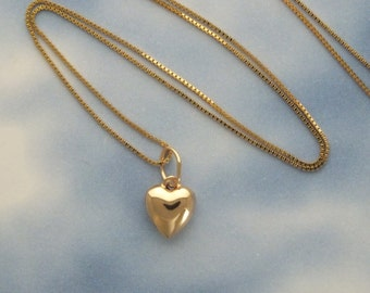 Gold heart necklace tiny solid 14k gold heart necklace 14k 14k puffed heart minimalist necklace layering solid gold puff heart necklace solid 14k gold aloadofball Gallery
