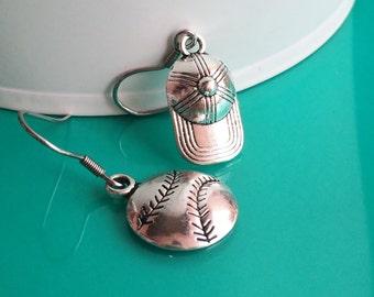 Baseball Stainless Steel Earrings, Baseball and Cap, Fun Drop Dangle Earrings E106