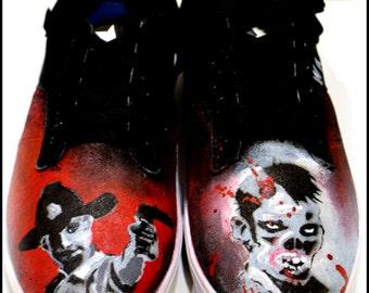 Mens Shoes, Mens Zombie Shoes, Walking Dead Shoes, Custom Walking Dead Shoes, Hand Painted Zombie Shoes