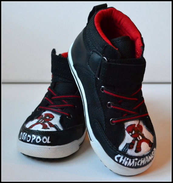Toddler Shoes Size 9 Painted Boys Deadpool Shoes Toddler