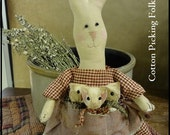 A Momma Bunny Rabbit and Family, Decorative Stuffed Doll, Hare Wearing Apron Full Of Baby Rabbits,Shelf Tuck Rabbit, Primitive Decoration