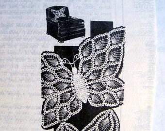 Laura Wheeler 767,  Butterfly Chair Set, Antimacassar Set, Pineapple Crochet Patterns