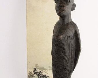 Vintage African Sculpture, Carved Style Standing Woman Figurine