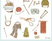 Knit Purl CLIP ART Set